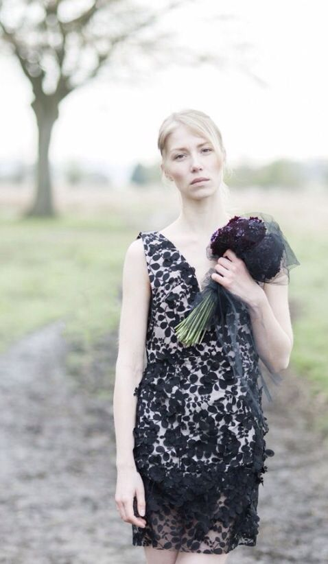 Dress by Rita Colson 'Woodland Bride' Bridal inspired collection and photo shoot #fashion #bridal #couture #bespoke #ethicalfashion #RichmondPark #ritacolsoninspirations #ritacolson #blacklace #LBD