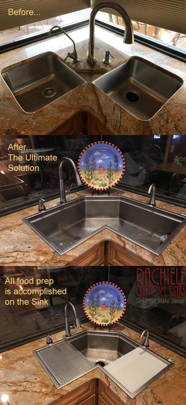 Corner Single Bowl Custom Stainless Kitchen Sink Corner Sink Kitchen Custom Sinks Corner Sink