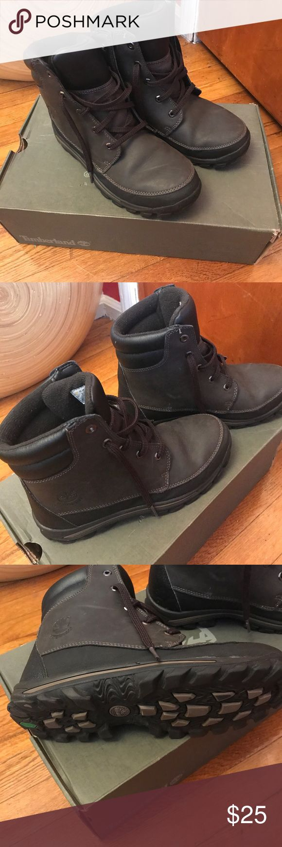 Timberland boots for kids size 6 Timberland boots for kids size 6, black and dark brown color. Great for school in the cold months. Durable. Worn. But still in good condition. Timberland Shoes Boots