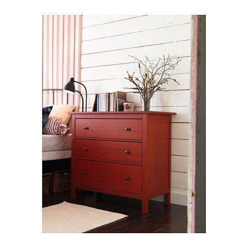 HEMNES 3-fiókos szekrény - piros - IKEA