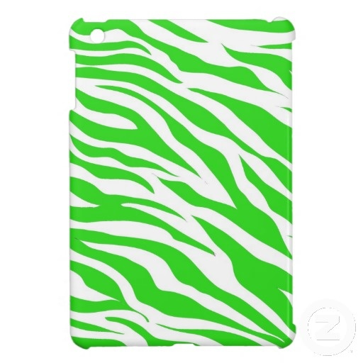 Lime Green White Zebra Stripes Wild Animal Prints iPad Mini Covers