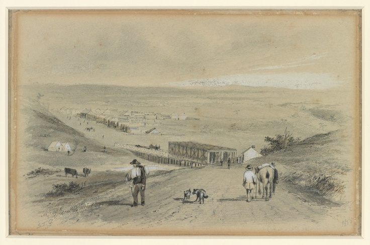 Brees Bridge with the toll gate on the south side of Maribyrnong River. Artist S T Gill, 1855.  http://digital.slv.vic.gov.au/webclient/StreamGate?folder_id=200=1367384560027~511