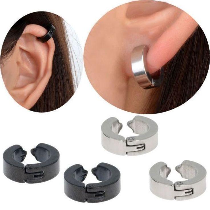Piercing de oreja falso - clip 'huggie' del lóbulo. A presión. Un par
