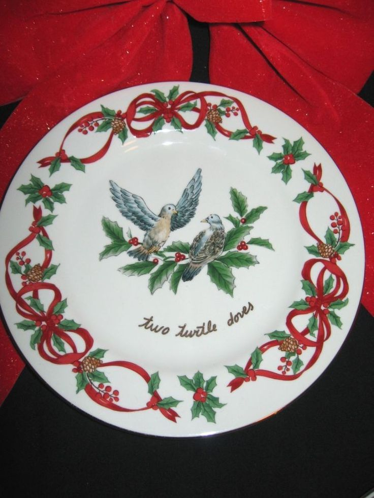 "Noble Excellence China 12 Days of Christmas Salad  Plate 7 1/2"" #2 Doves #NOBLEEXCELLENCE"