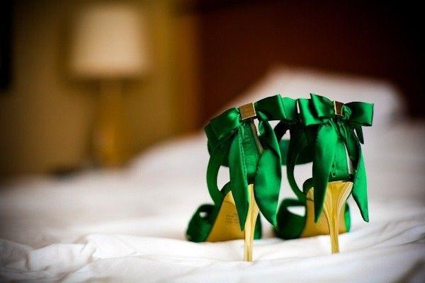 Scarpe da sposa color verde smeraldo