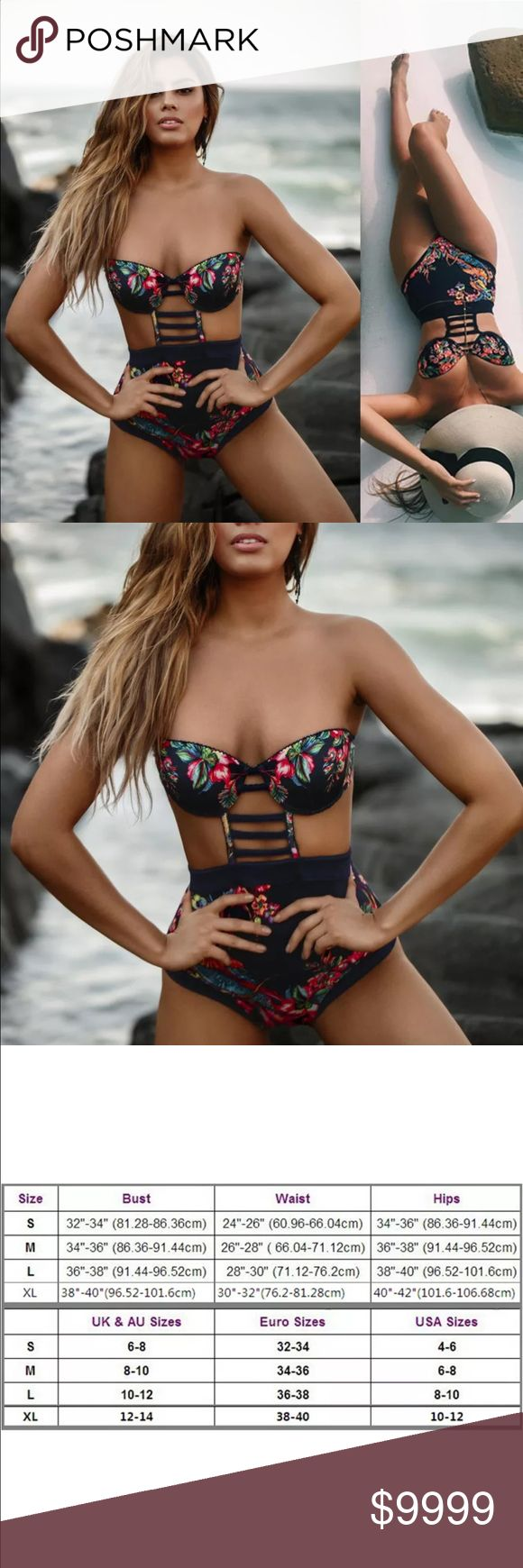 • Strapless Tropical Cut out Monokini • Strapless Tropical Cut out Monokini • Color deep blue not black • Pretty Floral print & high waist make this sexy yet feminine. Cut outs add some edge. Summer/Spring 2017 Swim Trends /Vegas / Pool / Beach / Party / Cruise / Resortwear ❤️Please note: straps are not shown in pic but are included & are detachable. Slight maker defect: some of the straps have partially open seams- easy stitch fix- price reduced to reflect it❤️ Swim One Pieces