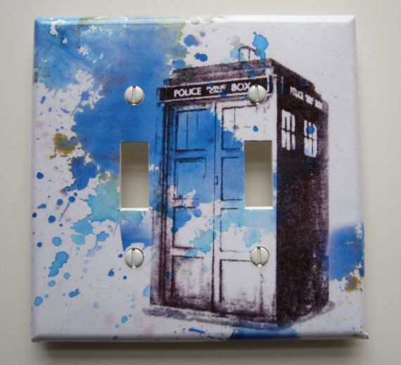 Doctor Who Tardis Decorative Double Light Switch Plate by idillard, it's just so necessary!
