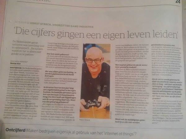 "Horst Streck, voorzitter game-industrie met een interview in NRC Next: De Nederlandse game-industrie was jarenlang veel te optimistisch. ""De kansen waren er, het is alleen niet gelukt ze te pakken.""  #horststreck #gamification #nrcnext"