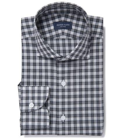 Albiate Light Grey Melange Plaid Tailor Made Shirt by Proper Cloth