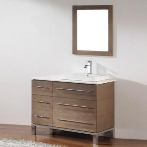 Studio Bathe Ginza 42 in. Vanity in Smoked Ash with Nougat Quartz Vanity Top in Smoked Ash and Mirror GINZA 42 SMOKED ASH RIGHT-NOUGAT at The Home Depot - Mobile