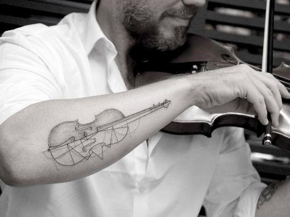 Single needle violin tattoo by Sanghyuk Ko