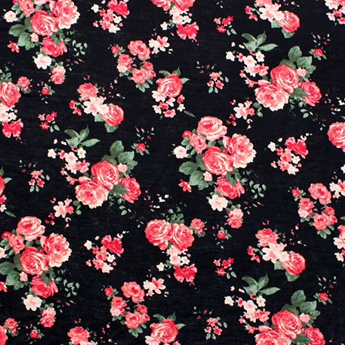 Dusty Red Pink Flowers On Black Cotton Jersey Blend Knit Fabric Pretty And