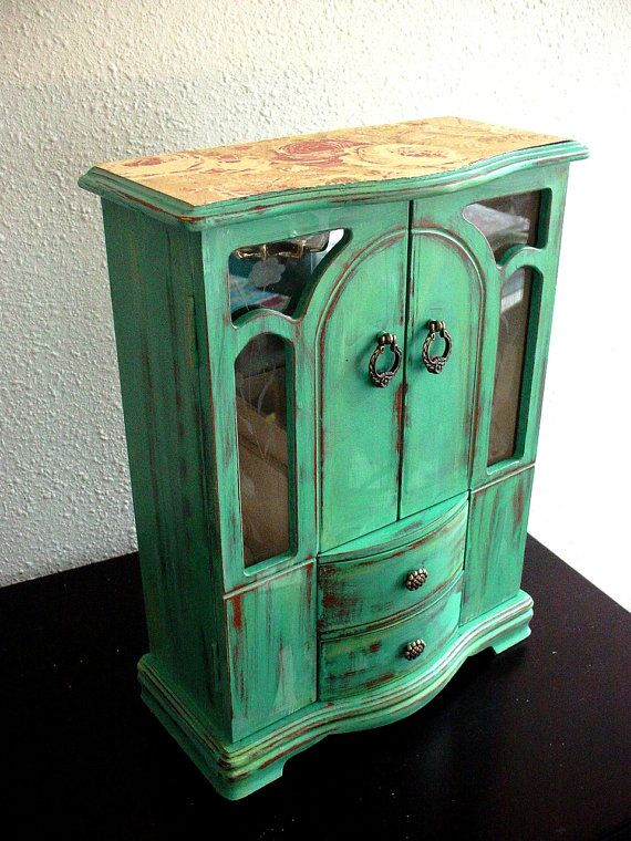 111 best jewelry boxes images on pinterest jewel box jewelry green flora wooden jewelry box solutioingenieria Choice Image