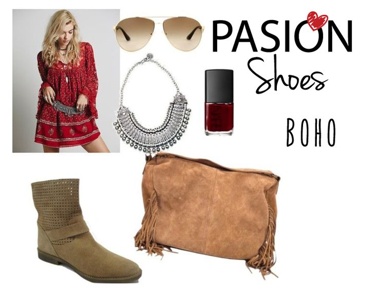 #bohemian #outfit #polyvore. Boots and bag from www.pasionshoes.com.au