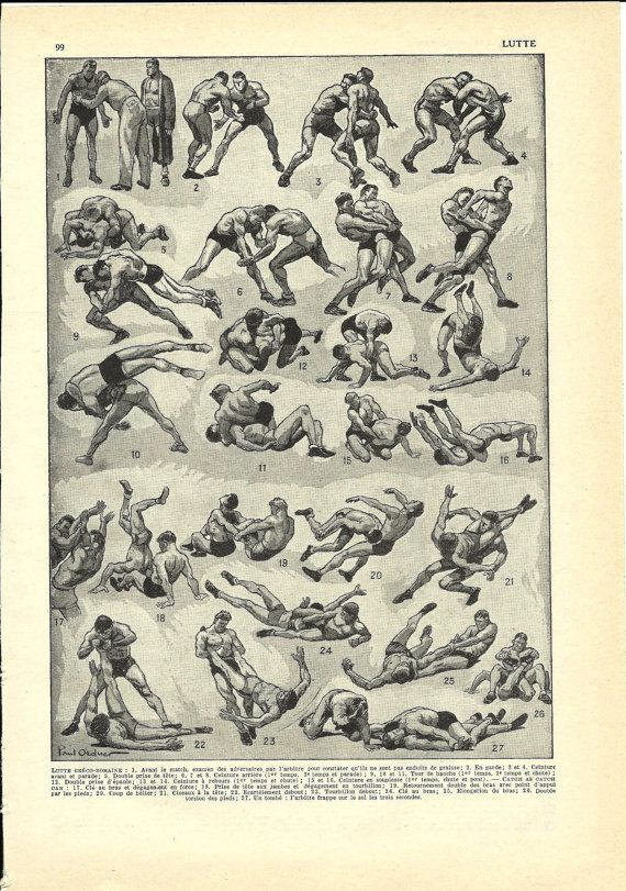 COMBAT SPORT WRESTLING Print - French Dictionary Illustration - 1948
