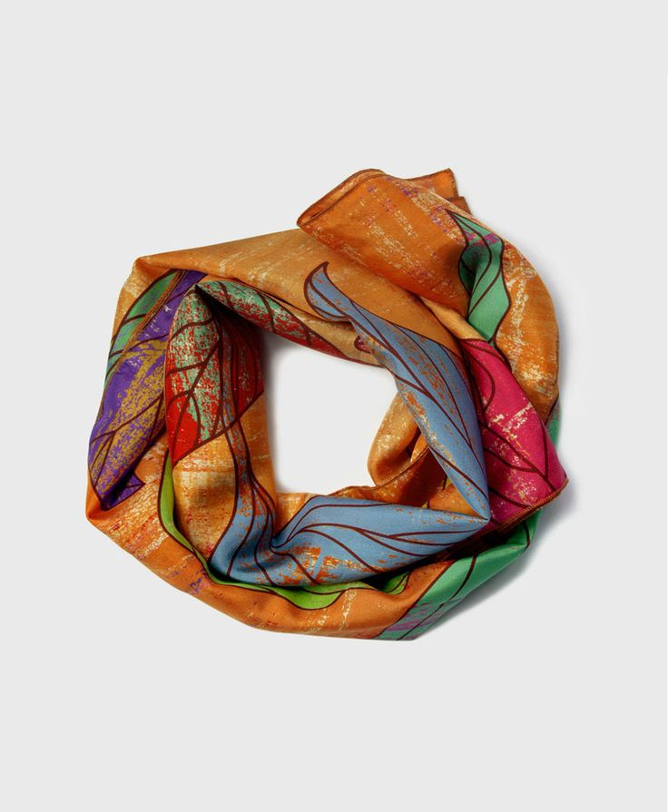 New to ImaPico on Etsy: Long skinny silk scarf colourful leaf print ladies fashion unique handmade scarves for women trendy silk scarf gift Mothers Day gifts UK (46.00 GBP)