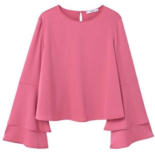 Flared Sleeve Blouse (€11) ❤ liked on Polyvore featuring tops, blouses, shirts, pink, long shirt, pink satin blouse, satin shirt, flared sleeve blouse and pink tops