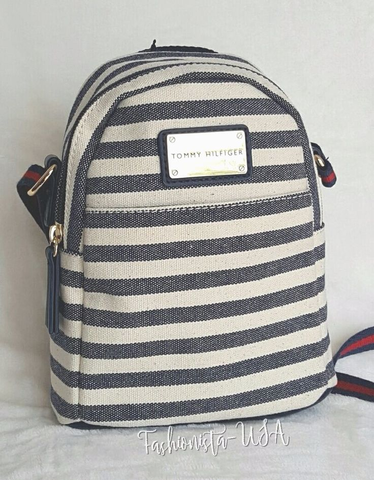 TOMMY HILFIGER CREAM+NAVY BLUE STRIPE Backpack MINI Xbody Canvas Bag -Retail $75 #TommyHilfiger #BackpackMessengerCrossbody