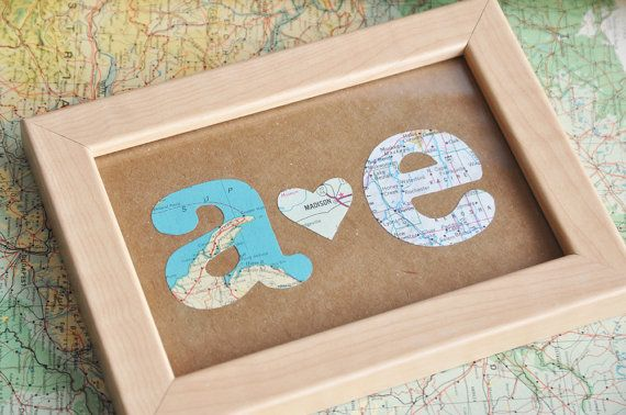 The traditional gift for the first wedding anniversary is paper. This framed customized recycled map initials is the perfect gift! For this example, I made