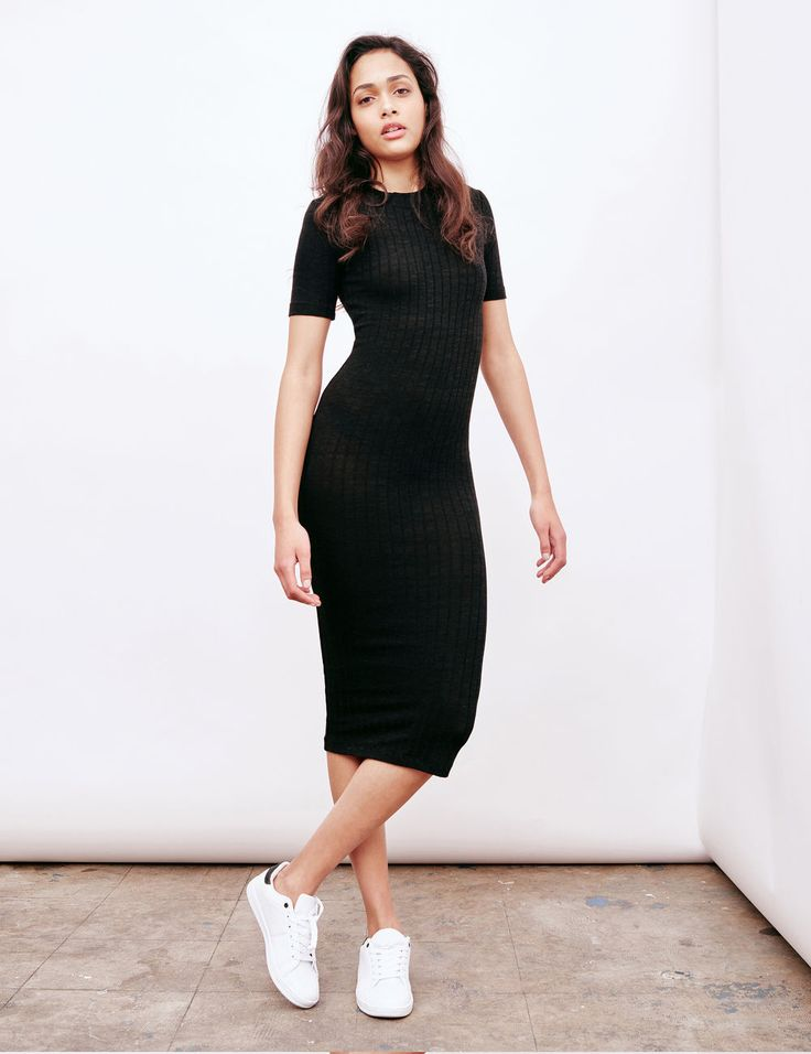 Robe tube manches courtes noire femme • Jennyfer