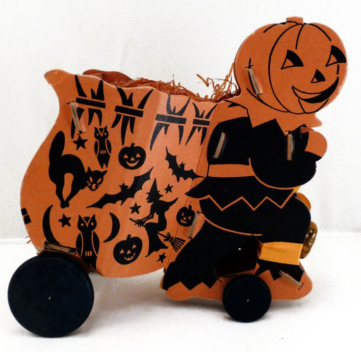 1950s halloween 6 12 pumpkin pulling cart cardboard table decoration w candy - Antique Halloween Decorations