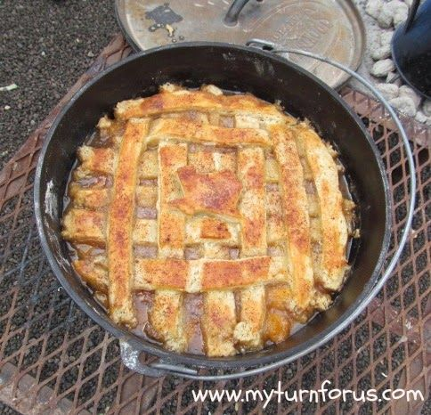 Authentic Dutch Oven Peach Cobbler, made in Texas next to a Chuck Wagon!  http://www.myturnforus.com/2014/03/dutch-oven-texas-peach-cobbler.html