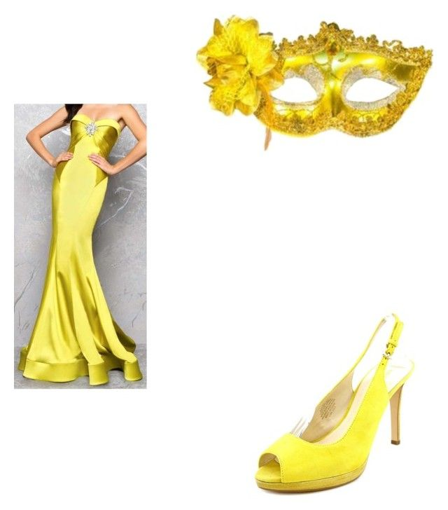 """""""Hufflepuff Masquerade Ball"""" by ffirnbach ❤ liked on Polyvore featuring Mac Duggal, Masquerade and Nine West"""
