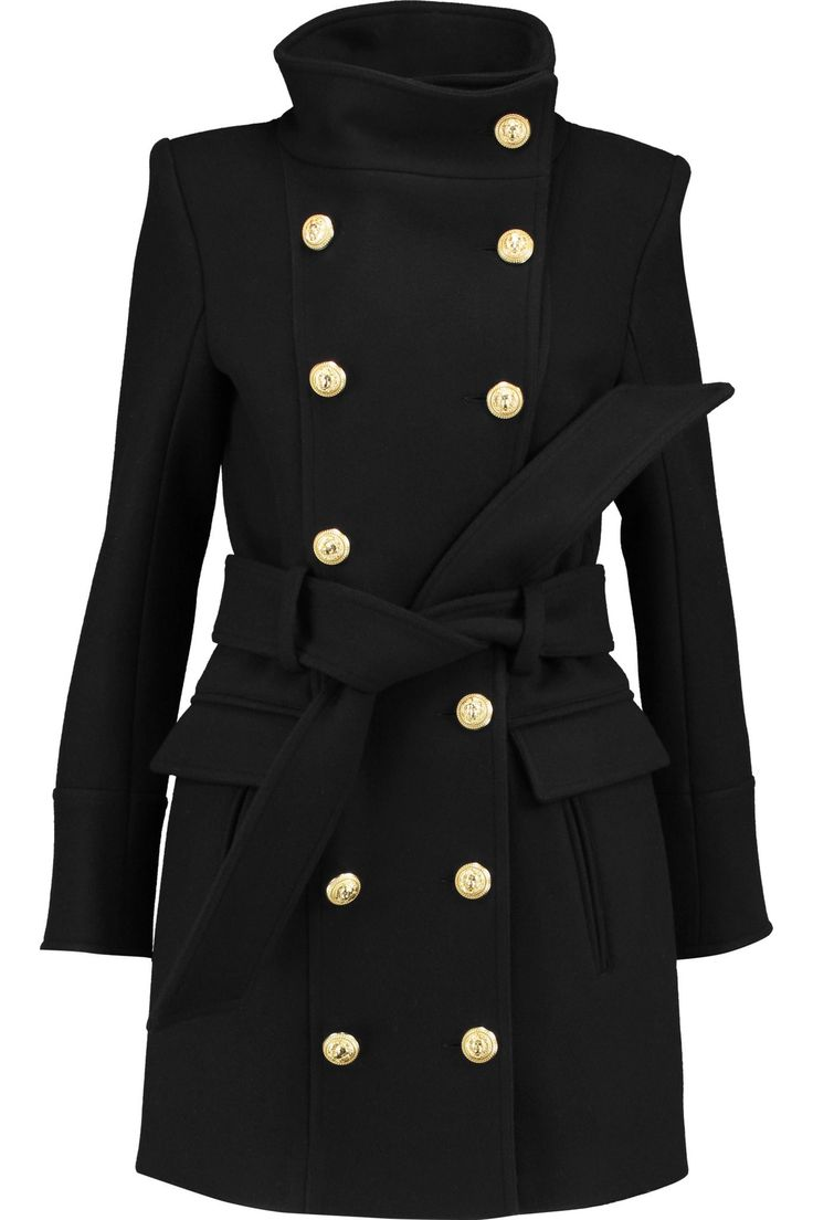 Double-breasted button-detailed wool and cashmere-blend coat | BALMAIN | Sale up to 70% off | THE OUTNET