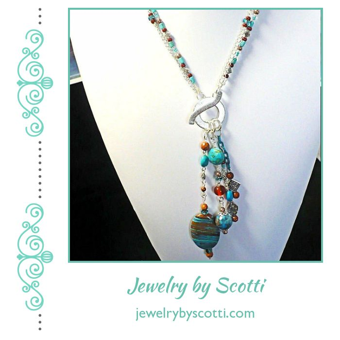 Southwestern Colors Pendant Necklace with turquoise, larimar, jasper, and howlite gemstones. Shop now for 15% off: https://small.bz/AAp41gM #handmadejewelry #handmadenecklaces #jewelryonsale #oneofakind  https://www.etsy.com/shop/JewelryByScotti
