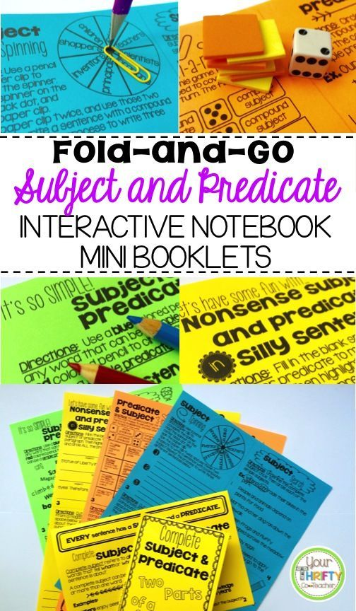 "Engage students in Subject and Predicate lessons with ""No Cut"" Fold and Go Interactive Notebook activities. This resource allows students to practice skills in a variety of ways and keep them in their notebook for future reference. Includes: Complete Subject & Predicate, Simple and Compound."