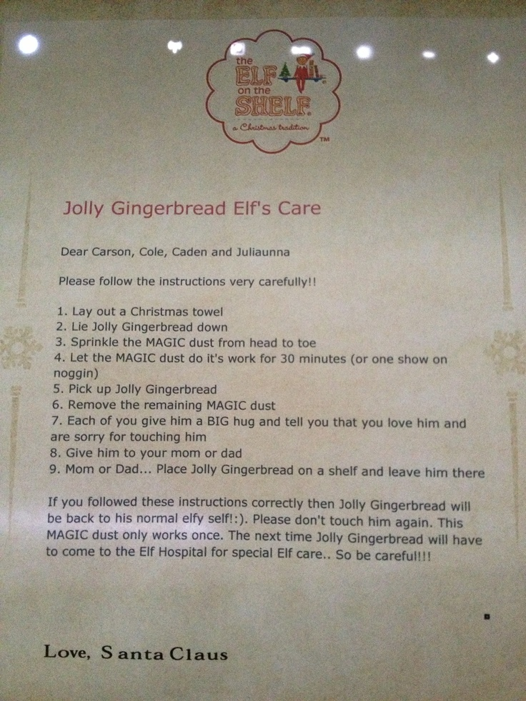 Letter from Santa with the instructions on what to do