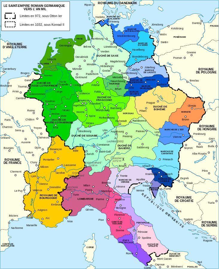 Datei Holy Roman Empire 1000 Karte mit mehr Farbenfr.svg
