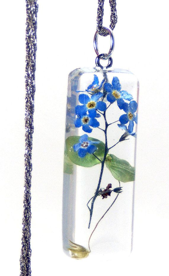 Flower Pendant, Blue Pendant, Forget Me Not, Real Dried Flowers, Real Flowers, Resin Jewelry, Flower Jewelry