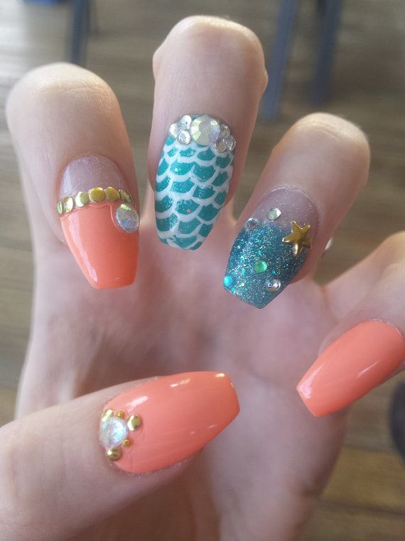The Little Mermaid Theme Press On Nails 20 00 Nails Disney Acrylic Nails Press On Nails