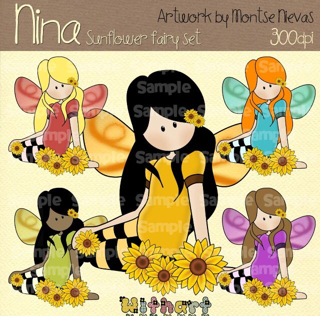 Nina dolls clipart, digital Illustration by Withart for scrapbooking, cardmaking and crafts. Spring, doll, fairy, sunflowers. www.etsy.com/shop/withart