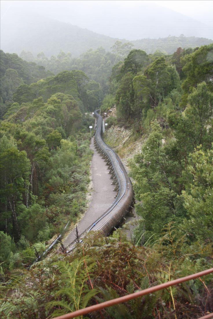 West Coast Tasmania. Timber pipeline at Queenstown