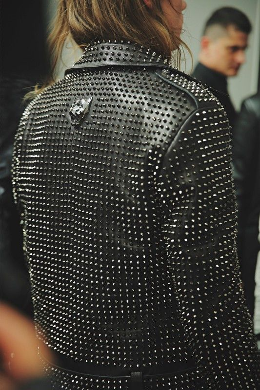 Studded leather jacket backstage at Philipp Plein AW15 Milan. See more here: http://www.dazeddigital.com/fashion/article/23259/1/philipp-plein-aw15