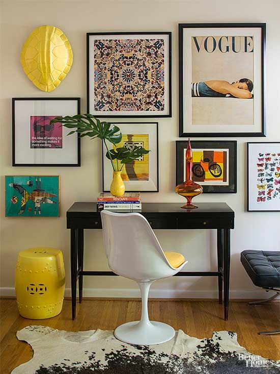 Pieces produced today in the spirit of midcentury design are easy to find. Look to designers such as Jonathan Adler and retailers such as Crate and Barrel. Colorful vintage prints brighten this office space and exude sophistication with mats and framing./