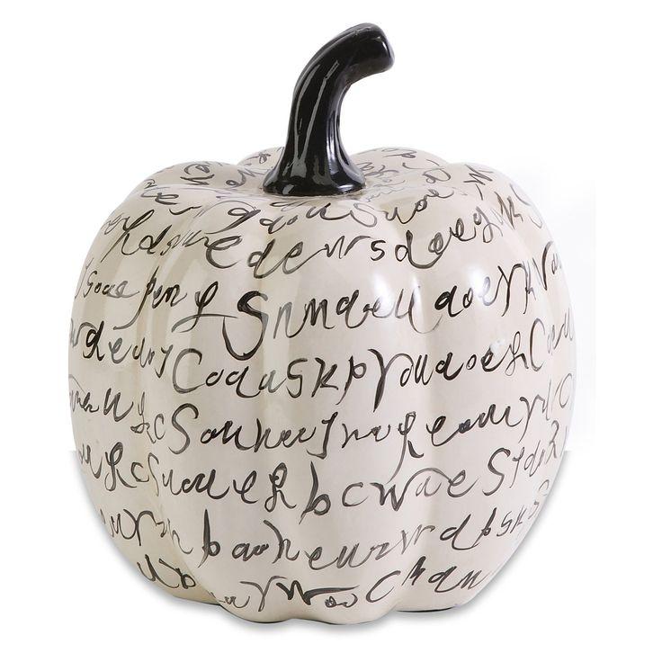 wicked black and white script poem ceramic halloween pumpkin decoration - Ceramic Halloween Decorations