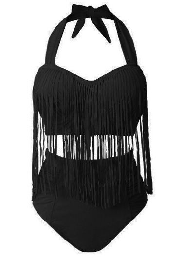 Plus Size High Waist Black Fringed Two Piece Swimsuit