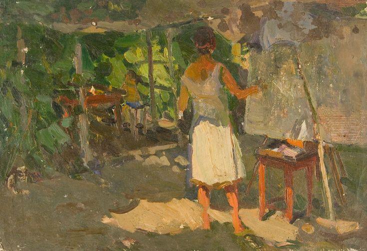 """M. Savnikova painting in plein eir"", Vasili K Nechitailo"