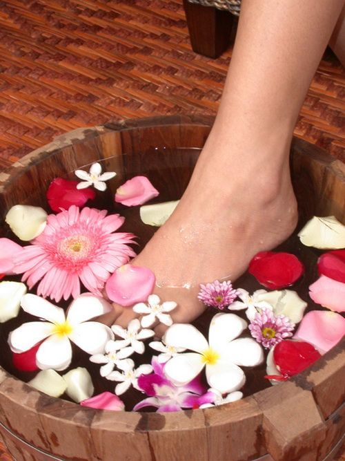 home spa with flowers