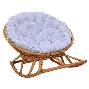 Papasan Outdoor Indoor Wicker Rocker Lounge Chair