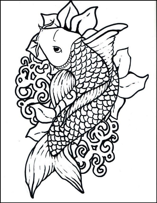 Top 10 Koi Fish Coloring Page Printable Di 2020 Warna Gambar Desain