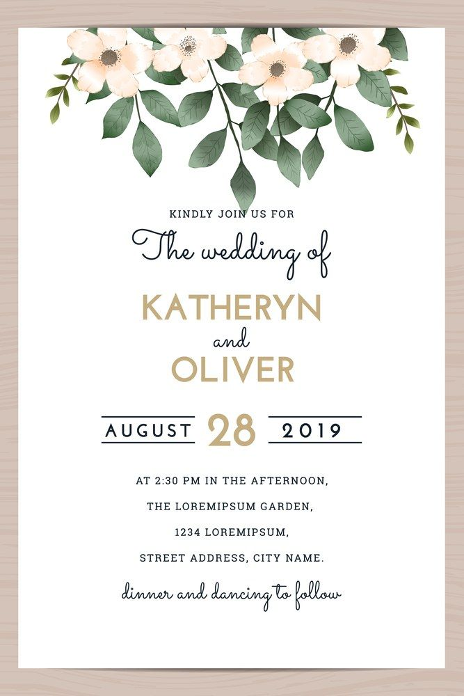 Save The Date Wedding Invitation Card Template With Flower Floral Leaf Vector Illustration Wedding Invitation Card Template Wedding Invitations Wedding Guide