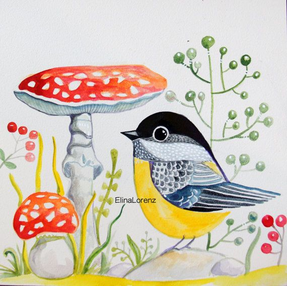 Bird with Red Mushroom /Original paintingWall by sublimecolors, $39.99