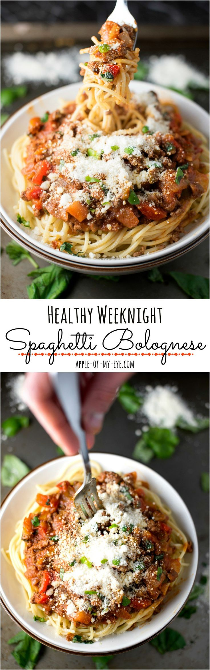 Healthy Weeknight Spaghetti Bolognese- this is done in just 30 minutes and is low-calorie comfort food!