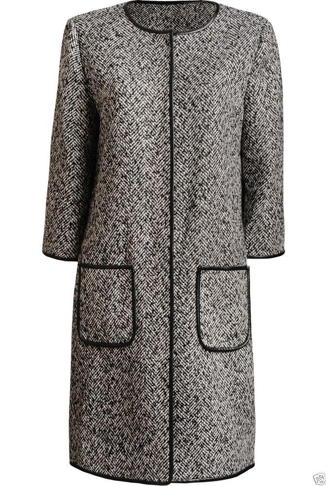 UNQ Damen Mantel mit Fischgratmuster in grau, NEU, Gr.44, Winter 2015
