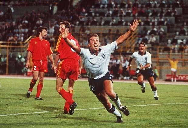 David Platt scores for England against Belgium at Italia '90