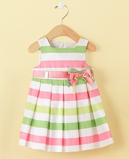 Sweet pink, white and green striped little girl's dress!